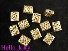 50pcs Antiqued gold plt knot square spacer beads A255