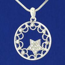 "W Swarovski Crystal Star Sun Circle Moon Pendant Necklace Jewelry Gift 18"" Chain"
