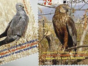 Makedonien Macedonia 2019 Nr 873-74 Europa Einheimische Vögel Flora Ornithologie