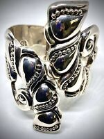 SIGNED AH🐛TAXCO MEXICO🐛925 STERLING SILVER🐛HINGE CUFF CLAMPER BRACELET🐛46 GR