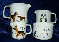 Dog milk jugs, choice 3 sizes jug, or sugar pot bowl 4/7/10oz many breeds shown