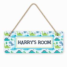 Personalised Dinosaur Boys Kids Children's Room Door Hanger Sign Baby Nursery
