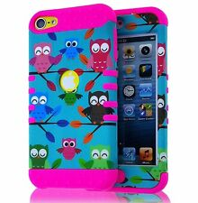 For iPod Touch 5th / 6th Gen - Hybrid High Impact Case Turquoise Green Pink Owls