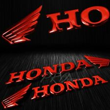 """2x 7""""x 1.5""""3D ABS Emblem Decal Wing Logo+Letter Glossy Sticker Honda Chromed Red"""