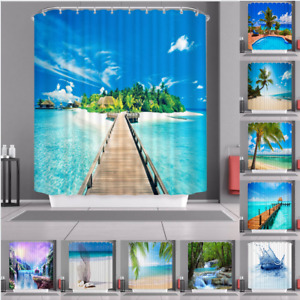 Natural Scenery Waterproof Polyester Fabric Bathroom Shower Curtain Decor 180cm