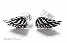 925 sterling silver Angel wing feather stud earring Gift cute womens childrens