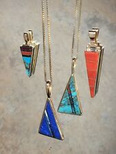 NAVAJO HANDMADE NATURAL GEMSTONE INLAID DOUBLE SIDED PENDANT IN 14K SOLID GOLD.