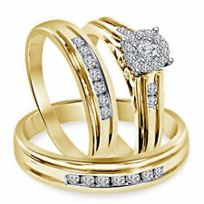 HIS & HER ENGAGEMENT RING WEDDING BAND TRIO SET ROUND DIAMOND 14K YELLOW GOLD FN