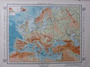 1912 MAP ~ EUROPE PHYSICAL LAND HEIGHTS ALPS ATLAS MOUNTAINS SCANDINAVIAN