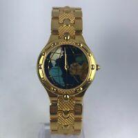 Vintage The Earth Gems Watch Collection Womens Goldtone Quartz Analog Wristwatch