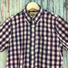 HOLLISTER A0916 Men's Large Short Sleeve Casual Plaided Shirt Navy/Pink/White