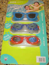 SPEEDO KIDS Swim Goggles, Sunglass Style, Fun Prints, Comfy Bungee. 3pc Set!