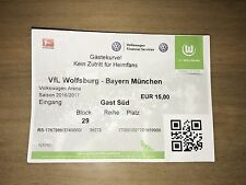 Sammler Ticket VfL Wolfsburg - FC Bayern München 29.04.17 FCB Deutscher Meister