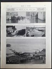 EFFECTS OF THE GREAT GALE YARMOUTH SCARBOROUGH IN BRITAN ANTIQUE PRINT 1905