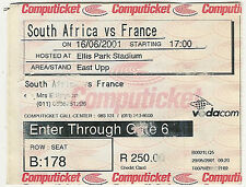 South Africa v France - 1st Test 16 Jun 2001 Johannesburg RUGBY TICKET