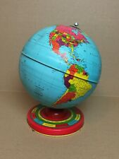Vintage CHEIN Desktop Tin Globe w/Astrological Base Months Seasons Time