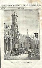 Stampa antica MILANO Piazza Mercanti Omnibus Duomo 1841 Old antique print