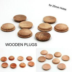 8 x 25 mm FLAT Plugs Head Wooden Solid Covering Screw Heads FREE PP Button Token