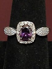 Ring Bomb Party - February Birthday - Amethyst and white topaz ring - size 10