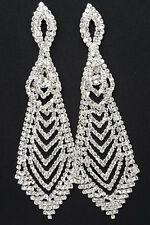 "Wedding Prom Pageant Bridal Chandelier Earrings 5"" Pair Long Dangle Gift"