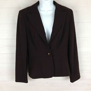Signature Larry Levine womens size 6 stretch brown fitted v-neck collared blazer
