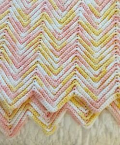"""Afghan Hand Knitted Chevron Blanket Throw Pink, Yellow, White 46"""" x 68"""""""