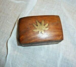 Hanf Cannabis Schmuckkästchen Kästchen Dose Pillendöschen Kistchen Holz Messing