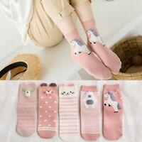 5Pairs Women Cotton Cartoon Socks Cute Animal Ankle Socks Short Casual Ear  SK