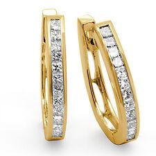1.00 Ct Princess Cut Channel Diamond Hoop VS1 F Unisex Earrings 14k Gold Yellow