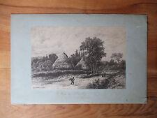 Ancienne estampe Lithographie paysage près de Plailly Oise Mortefontaine tableau