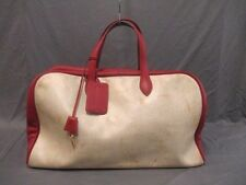 Authentic HERMES Red*Beige Victoria 50 Toile H*Taurillon Clemence Boston Bag