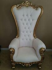 Chair - High Back Chair - High Back Baroque Chair - Queen Throne White W/Gold