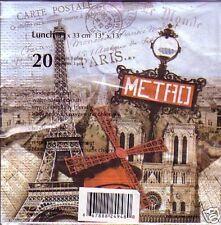 40 PAPER NAPKINS WITH PARIS EIFFEL TOWER, NOTRE DAME, METRO, FRANCE NEW