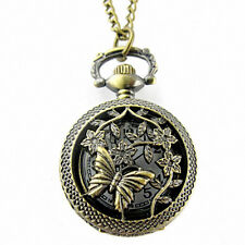 Cover Pocket Quartz Watch Ornate Gift Retro Bronze Butterfly and Flower Openwork
