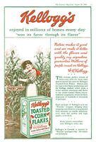 "1919 Kellogg's Toasted Corn Flakes Box art ""Won Favor Through Flavor"" print ad"
