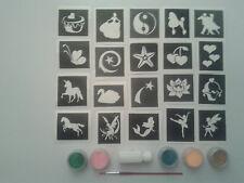 Fille x 20 tatouage ensemble de pochoir pour tatouages paillettes + 5 couleurs