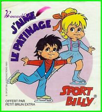 ancien Autocollant Sticker SPORT BILLY J'aime le Patinage 1983 Petit Brun extra