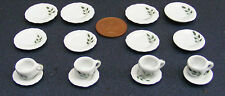 1:12 Scale 16 Piece Hand Painted Green Leaf Ceramic Tea Set Dolls House TS5
