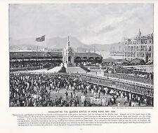 1897 VICTORIAN PRINT ~ INAUGURATING QUEEN'S STATUE HONG KONG CHINA MAY 1896