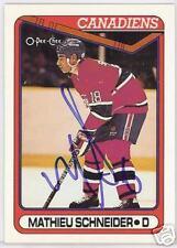 MATHIEU SCHNEIDER Montreal Canadiens 1991 OPC  AUTOGRAPHED HOCKEY CARD JSA