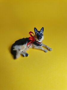 OOAK Realistic german shephard dog Dollhouse Handmade IGMA ARTISAN
