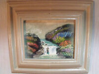 """COLORFUL 4"""" BY 5"""" RIVER SCENE OIL PAINTING IN 7.5"""" BY 8"""" WOOD FRAME, SIGNED"""