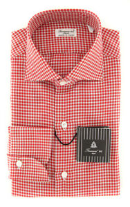 New $425 Finamore Napoli Red Micro-Check Shirt - Slim - (FN831171)