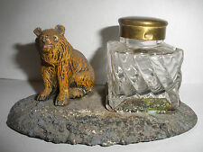 Antique cold Painted Metal Bear With Glass Inkwell Austria ?