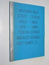 Piatt Co Illinois IL genealogy  1855 & 1865 State Census 1850-80 Mortality Sched