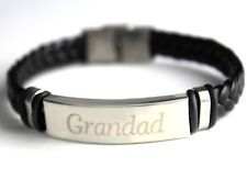 GRANDAD - Men's Bracelet With Name - Leather Braided - Engagement Personalised