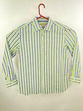 Luigi Borrelli Men's Striped 100% Cotton Green & Blue Button Down Shirt 18/45