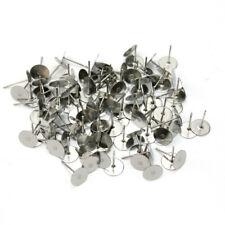 100pcs Alloy Flat Round Blank Pad Ear Stud Components Earring DIY