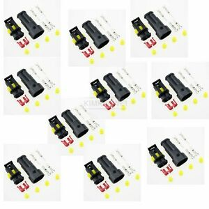 10 Kit 2 Pin Way Sealed Waterproof Electrical Connector Plug for Car Auto Boat