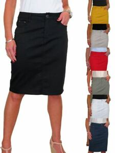 ICE Stretch Chino Jeans Style Below Knee Pencil Skirt 10-20